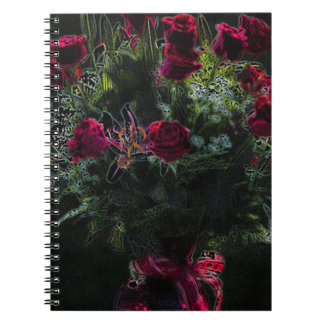 Digital Art Romantic Red Rose Bouquet Note Book
