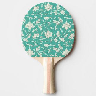 Digital art white floral pattern illustration Ping-Pong paddle