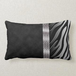 Digital Black and White Suede Zebra Stripe Lumbar Pillow