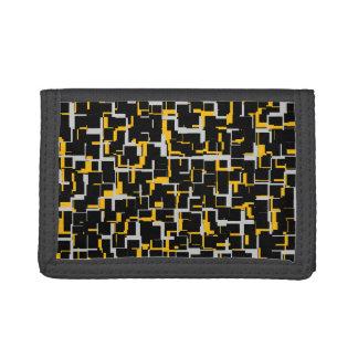 Digital Black Gray Yellow Pattern Trifold Wallet