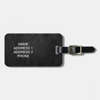 Digital Black Leather Luggage Tag