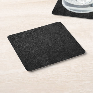 Digital Black Leather Square Paper Coaster