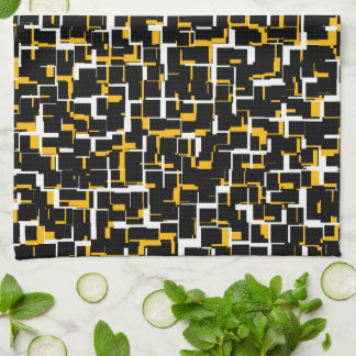 Digital Black White Yellow Pattern Kitchen Towel