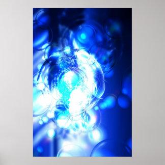 Digital Blue Abstract Art Poster Print
