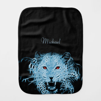 Digital blue leopard fractal name baby baby burp cloth