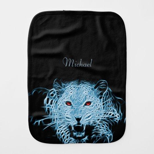 Digital blue leopard fractal name baby burp cloth
