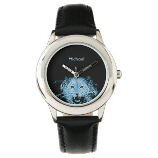 Digital blue leopard fractal name watches