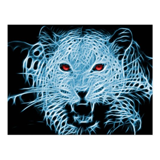 Digital blue leopard fractal postcard