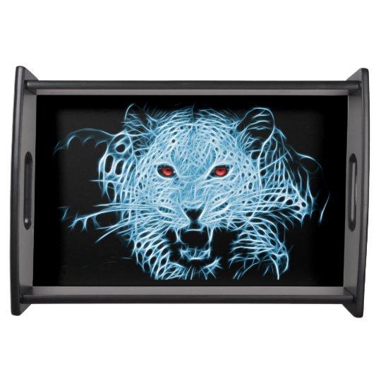 Digital blue leopard fractal serving trays