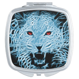 Digital blue leopard fractal vanity mirrors