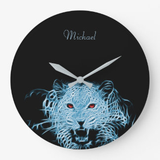 Digital blue leopard fractal wall clock