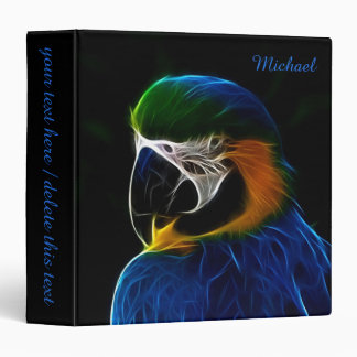 Digital blue parrot fractal 3 ring binders