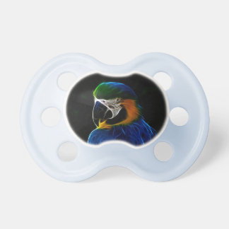 Digital blue parrot fractal baby baby pacifiers