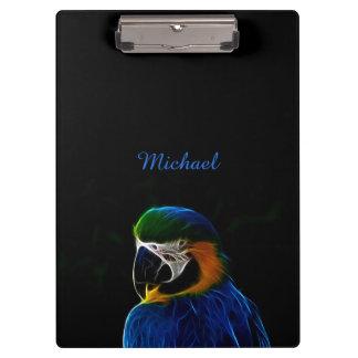 Digital blue parrot fractal clipboard