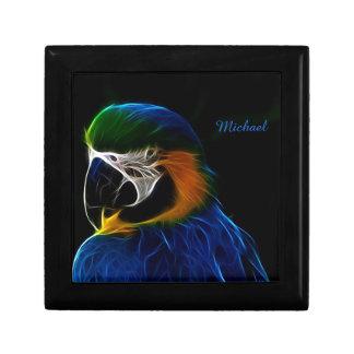 Digital blue parrot fractal jewelry boxes