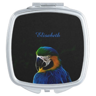 Digital blue parrot fractal name mirror for makeup