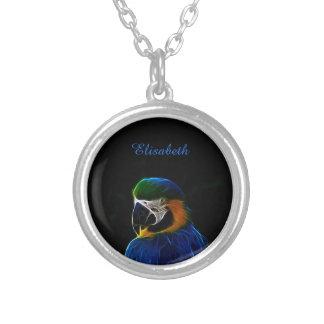 Digital blue parrot fractal name silver plated necklace