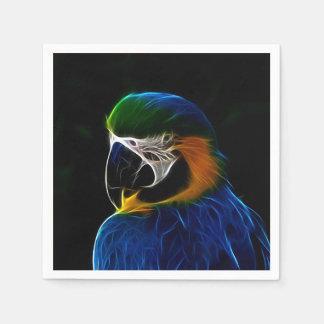 Digital blue parrot fractal paper napkins