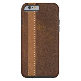 Digital Brown Leather with Stitched Strap Tough iPhone 6 Case