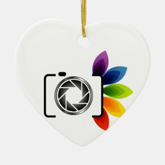 Digital camera with colorful leaves ceramic ornament