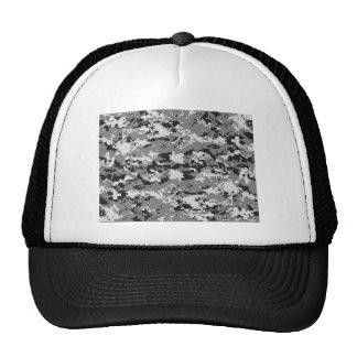 Digital camo Black white and grey Mesh Hats