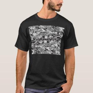 Digital camo Black white and grey T-Shirt