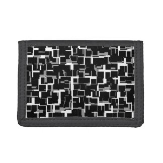 Digital Camo Black White Gray Pattern Trifold Wallet