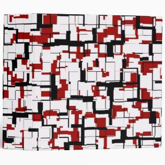 Digital Camo Black White Red Pattern 3 Ring Binder