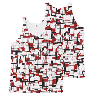 Digital Camo Black White Red Pattern All-Over-Print Tank Top
