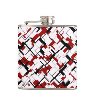 Digital Camo Black White Red Pattern Hip Flask