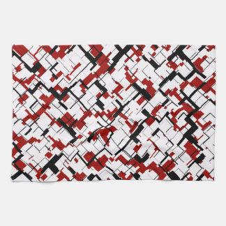 Digital Camo Black White Red Pattern Kitchen Towel