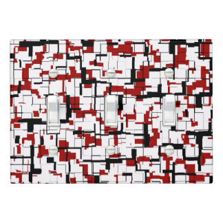 Digital Camo Black White Red Pattern Light Switch Cover