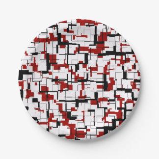 Digital Camo Black White Red Pattern Paper Plate