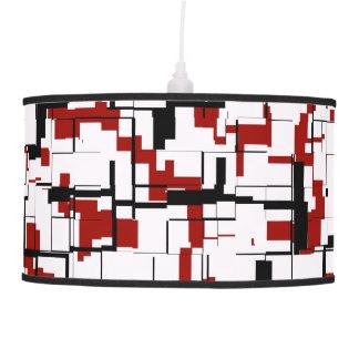 Digital Camo Black White Red Pattern Pendant Lamp