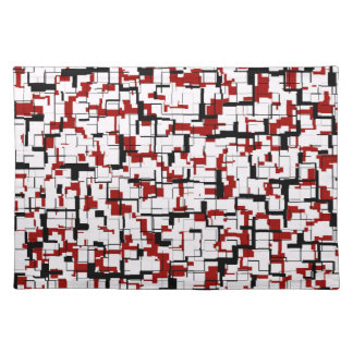 Digital Camo Black White Red Pattern Placemat