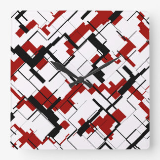 Digital Camo Black White Red Pattern Square Wall Clock