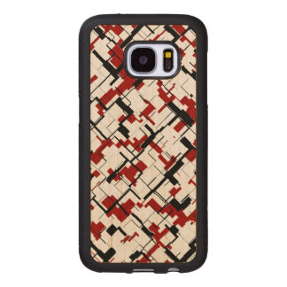 Digital Camo Black White Red Pattern Wood Samsung Galaxy S7 Case