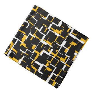 Digital Camo Black White Yellow Pattern Bandana