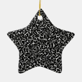 Digital Camo Black White Yellow Pattern Ceramic Ornament