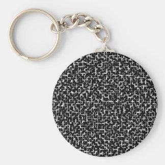 Digital Camo Black White Yellow Pattern Keychain