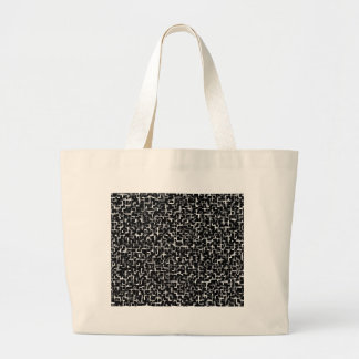 Digital Camo Black White Yellow Pattern Large Tote Bag