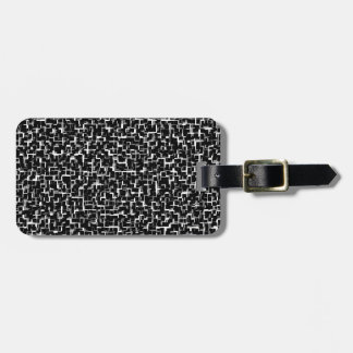 Digital Camo Black White Yellow Pattern Luggage Tag
