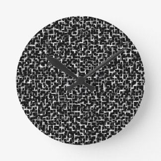 Digital Camo Black White Yellow Pattern Round Clock