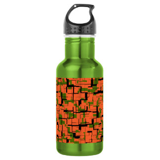Digital Camo Green Orange Black Pattern 532 Ml Water Bottle