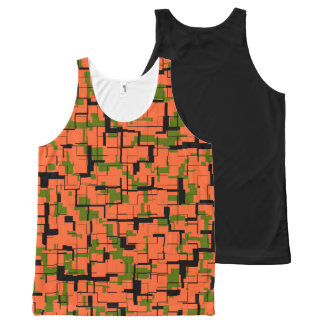 Digital Camo Green Orange Black Pattern All-Over-Print Tank Top