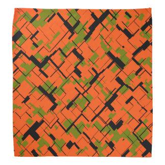 Digital Camo Green Orange Black Pattern Bandana
