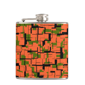Digital Camo Green Orange Black Pattern Hip Flask