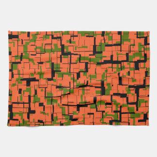 Digital Camo Green Orange Black Pattern Kitchen Towel