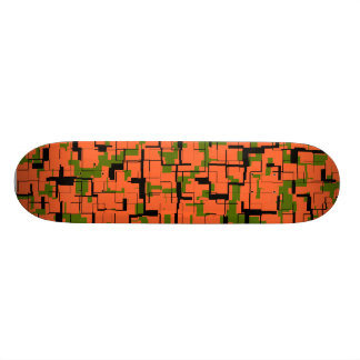 Digital Camo Green Orange Black Pattern Skateboard Deck
