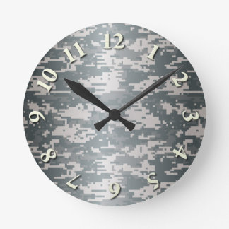 Digital Camo Round Clock